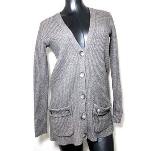 Theory Wool Blend Grey Button Up Cardigan Sweater